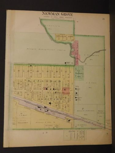 Nebraska Madison County Map Union Township  1899 Double Sided  J9#18