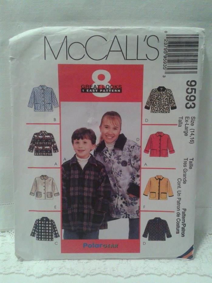 McCall's Uncut OOP 8 Great Looks Jacket w/ Pockets Pattern Girl's/Boy's Sz.14-16
