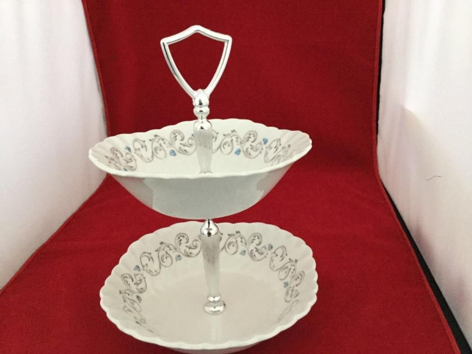 Encore tier dish made by Johnson  Bros. a genuine hand engravingIronstone piece