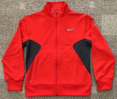Boys Medium 10 12 Orange & Gray Nike Dri-Fit Full Zip Athletic Jacket 727991 891