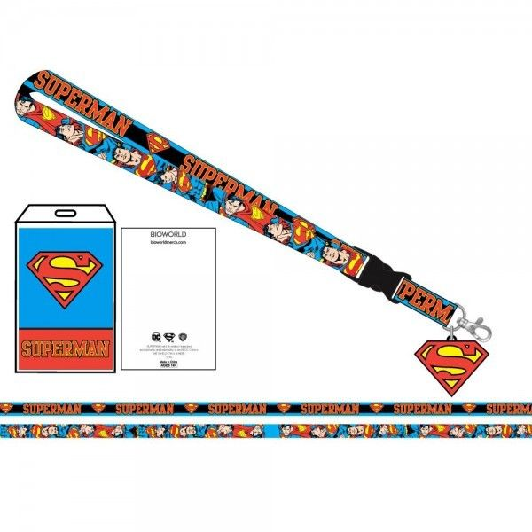 DC Comics SUPERMAN Neck Lanyard ID Badge Holder Detachable Blue S Logo Official