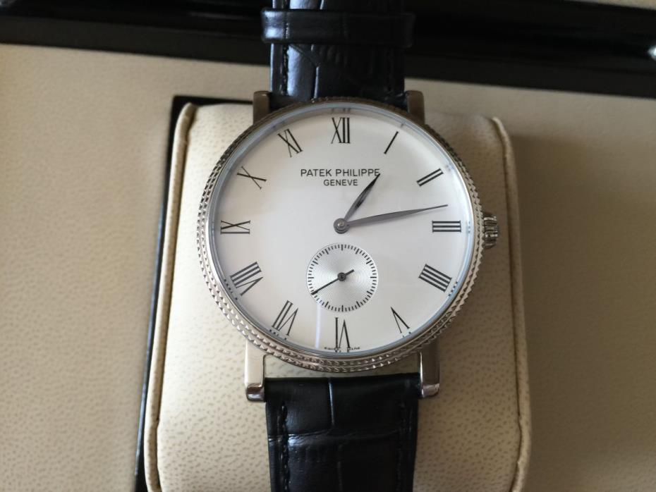 Auth Patek Philippe Calatrava 18K White Gold Enamel Dial Mens watch