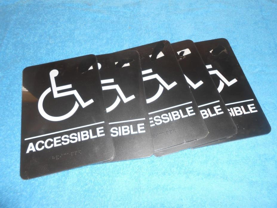 5 Handicap WHEELCHAIR ACCESSIBLE 6x9 Braille Self-Adhesive Sign-ADA Requirements