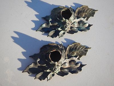 Pair Of Lula Verhoren Lavell (LVL) Poinsettia Candle Holders Cast Iron