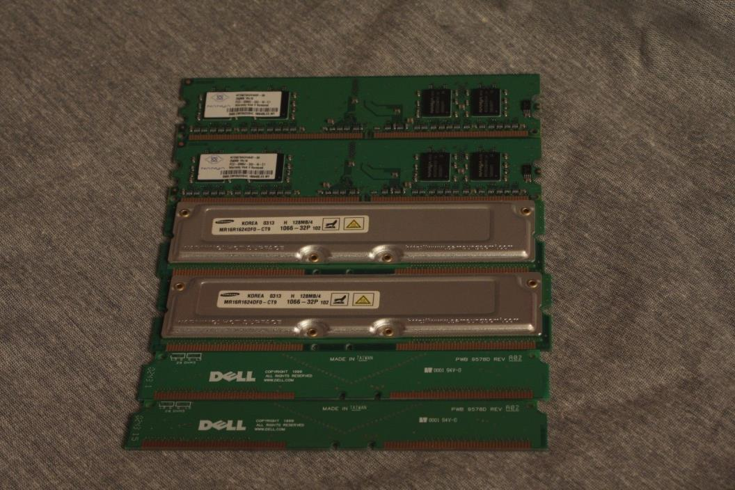 128MB Samsung RDRAM + Nanya PC-3200 256MB + Dell 9578D Terminator (2 of each)