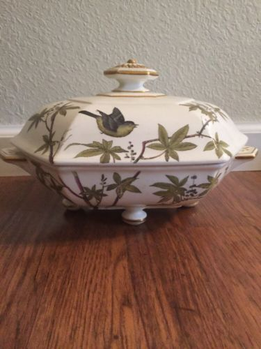 Minton Essex Birds Covered Vegetable Dish Green Gold Bamboo