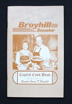 Capitol Cook Book NC Senator James T. Broyhill Campaign Signed by Jim & Louise