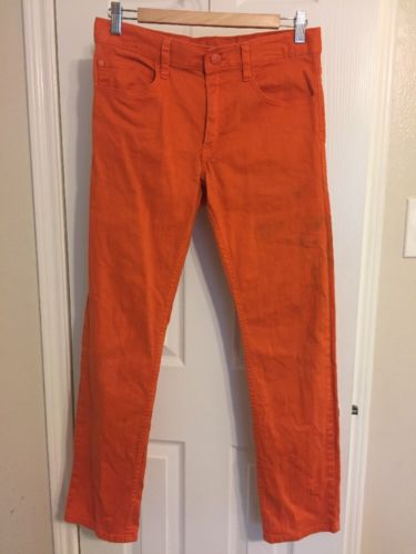 Boys H&M Mandarin Orange Semi-Distressed Jeans-size 13/14Y