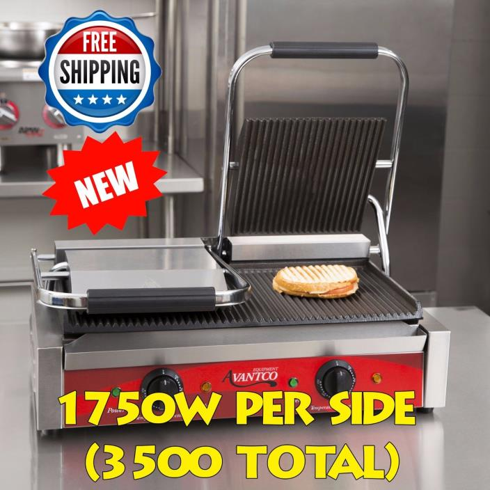 Double Grooved Top Plate Commercial Panini Sandwich Quesadillas Hamburgers Grill
