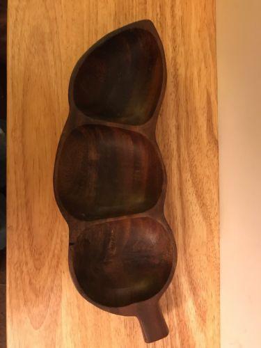 Vintage Monkeypod Teak Wood Divided Dish