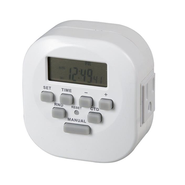 Westek TE06WHB 2 Outlet Digital Timer with 2 Grounded Outlet