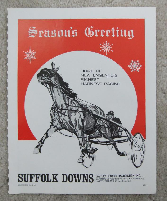 VINTAGE 1967 SUFFOLK DOWNS AD HORSE HARNESS RACING STANDARDBRED E BOSTON MA