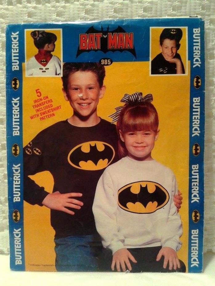 Butterick Uncut OOP 985 Childs Sz. 2-6X Iron-on Batman Sweatshirt Pattern