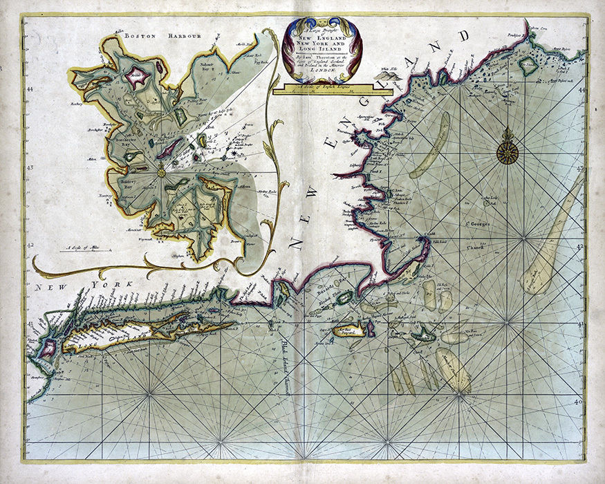 1702 Map of New England New York and Long Island CANVAS PRINT