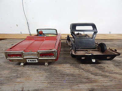 Vintage 1960's Ford Thunderbird Battery Op Toy Convertible Car Parts Or Repair