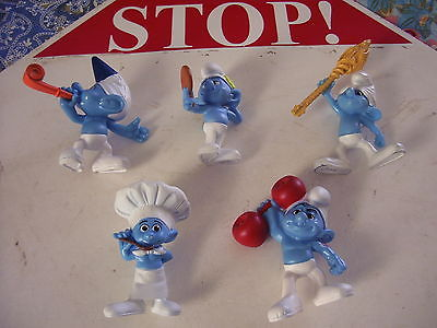 SMURFS FIGURES McDONALDS COLLECTION CLUMSY, PARTY PLANNER,HEFTY, VANITY, CHEF