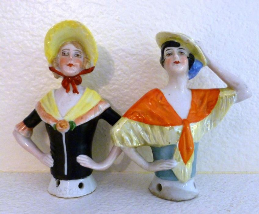 Set of 2 Vintage German Half Pin Cusion Dolls 4