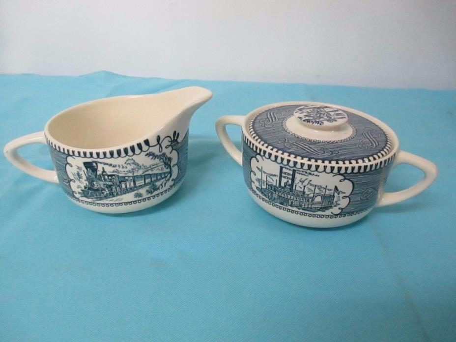 Royal China Currier and Ives Covered Sugar and Creamer