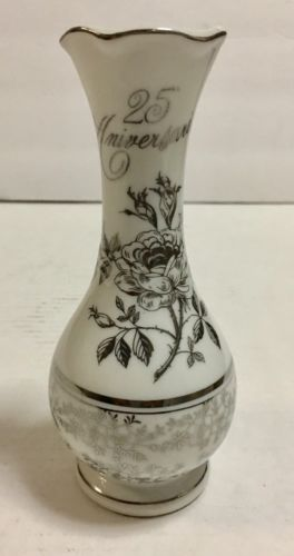 25th Anniversary Vase Norcrest Chatillon Fine Porcelain crafted in Japan
