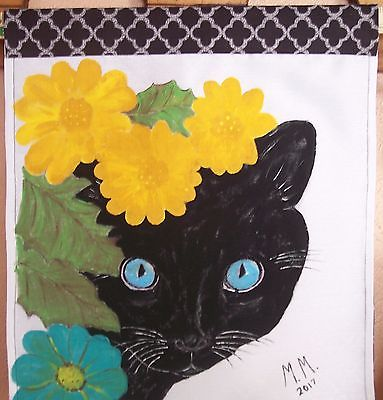Hand painted original, Black cat painting, wall hanging, Cat painting, wall art