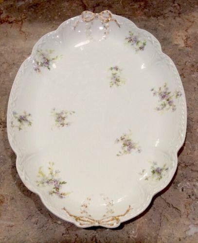 GDA FRANCE Gold Ribbon & Lavender Floral Porcelain Chop Platter 15 1/2 Inch