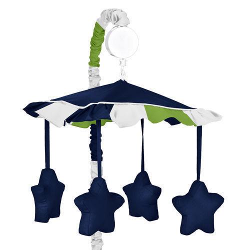 Sweet Jojo Designs Musical Mobile For Navy Blue & Green Stripe Crib Baby Bedding