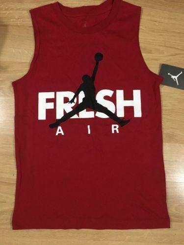 Air Jordan Shirt Youth Size Medium 10-12 Years Sleeveless Red And White NEW!!