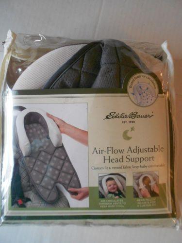 New Eddie Bauer Adjustable Air Flow Head Support Baby Head Rest Gray