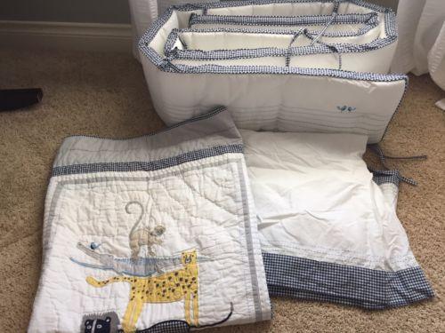Pottery Barn Kids Safari Friends Crib Quilt+Bumper+Fitted Sheet+Skirt BLUE