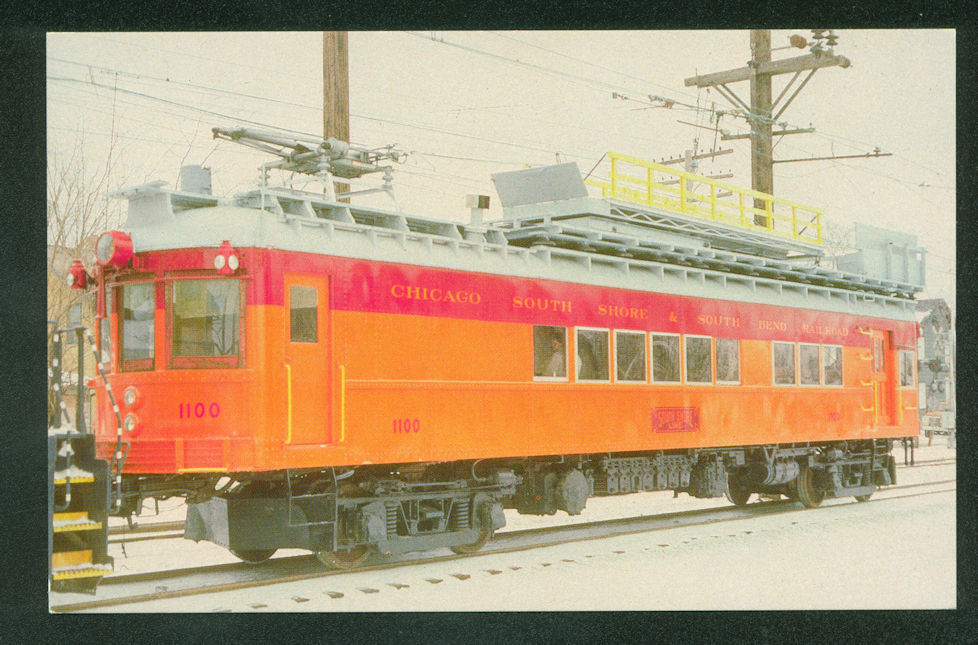 Chicago South Shore SNOW SCENE Electric Train Railroad RR Line Car Postcard