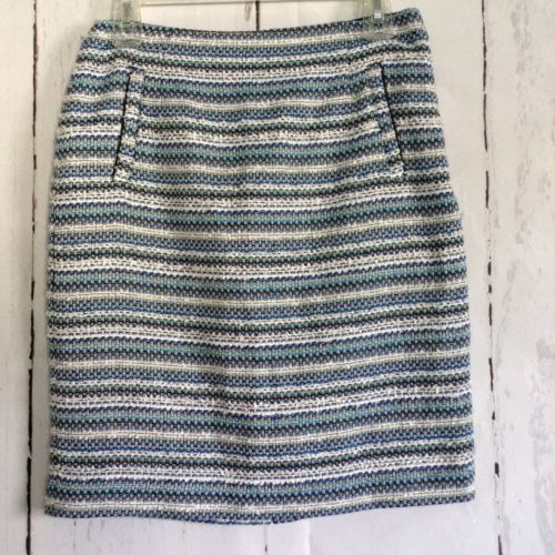 HALOGEN Nordstrom - Blue Striped Acrylic Knit Above Knee Pencil Skirt sz 4