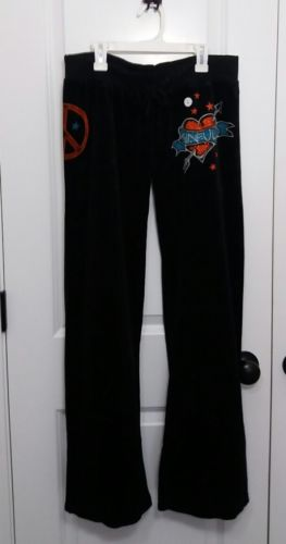 Sinful by Affliction Velour Track Pants Black Size Large NWT