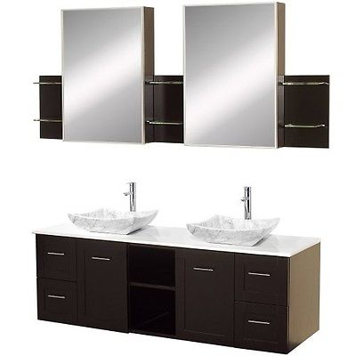 Wyndham Collection Avara 60 inch Double Bathroom Vanity in Espresso with White M