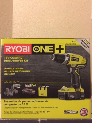 NIB Ryobi  18-volt Cordless Compact Drill / Driver Kit