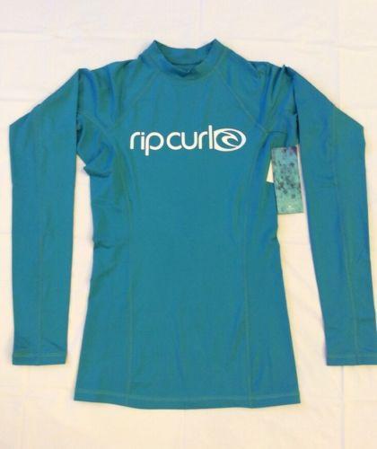 RIP CURL RASHGUARD SURF TEAM Long Sleeve 50+UPF Performance Fit Small Teal $29.9