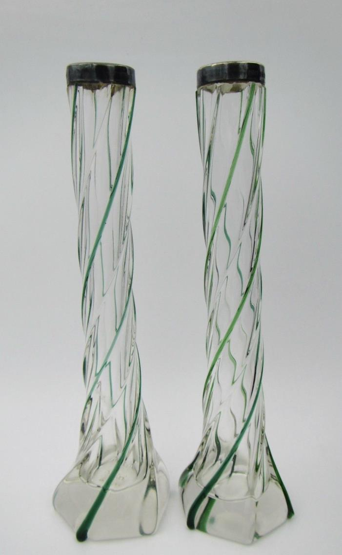 2 Antique 1904 Clear & Green Glass Swirl Bud Vases W/ Sterling Silver Collar