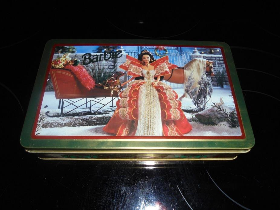 VINTAGE RUSSELL STOVER CANDIES BARBIE CHRISTMAS TIN EMPTY 1997!!!