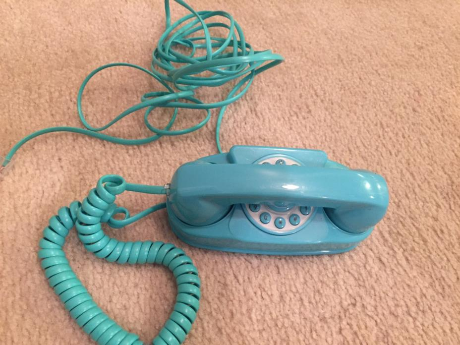 EUC Mini Princess Miniature Corded Phone Working Real Turquoise 5.5 Inch Long
