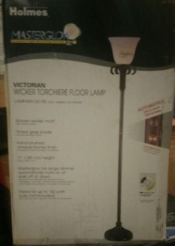 holmes master glow victorian wicker torchier floor lamp