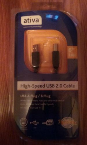 ( NIB ) Ativa High Speed USB 2.0 cable, 6 ft.