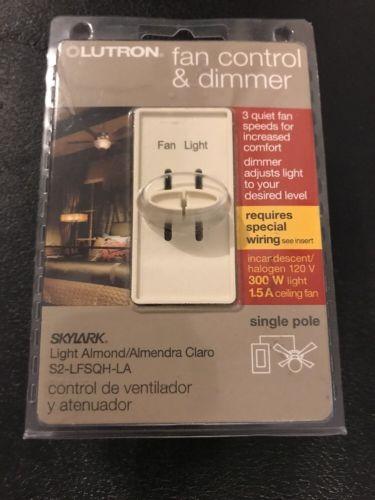 Lutron Skylark 300-Watt SinglePole DualFan Control & Dimmer Light Almond NEW (J)