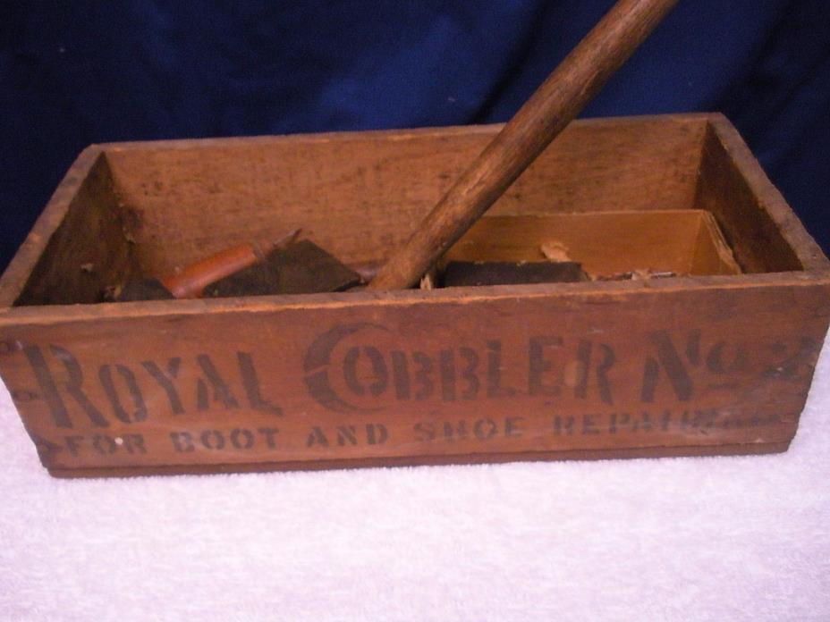 Antique ROYAL COBBLER No. 2 Wood BOX with Tools SHOE REPAIR Tools Hammer Nails