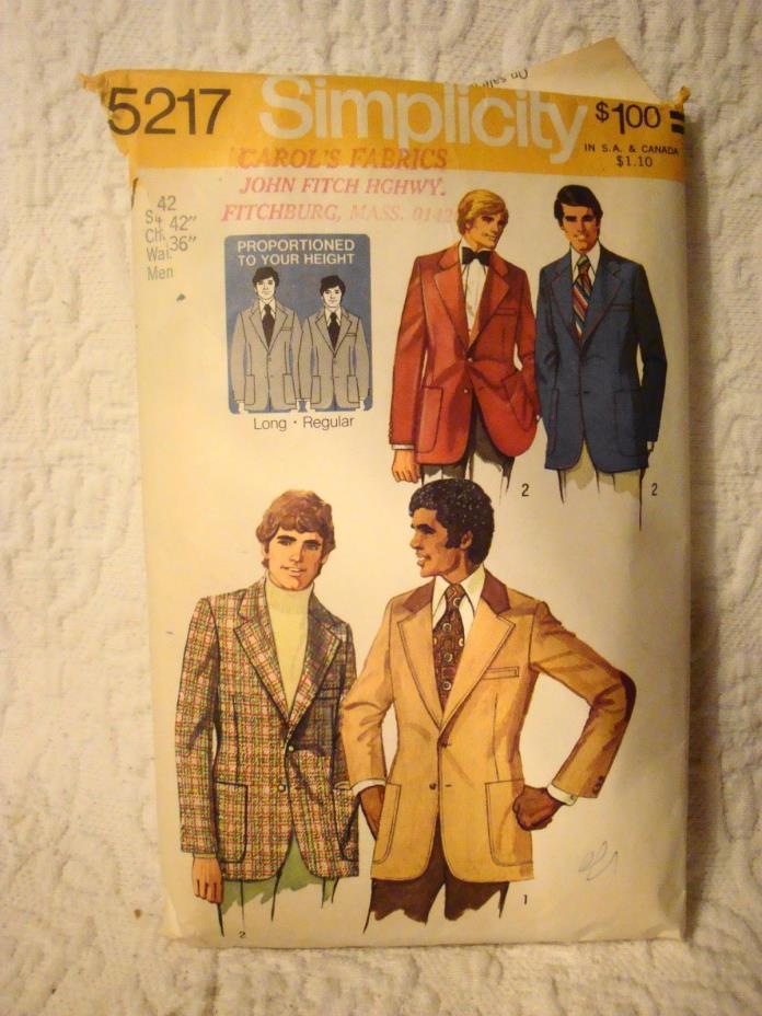 Vintage 1972 Simplicity 5217 Size 42 Chest 42' Waist 36
