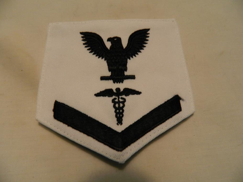 1975 NAVY MEDIC PATCH BLACK ON WHITE
