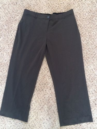 WOMENS BROWN COMFORT WAIST TROUSER LEG DRESS PANTS SZ 16P