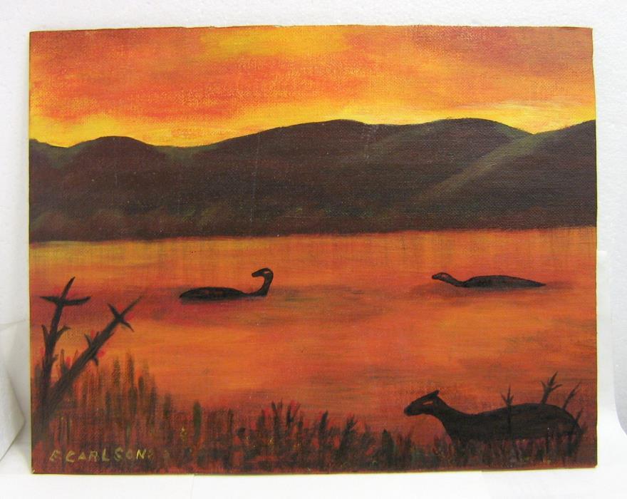 Vintage Dinosaur Painting Signed Canvas Sunset over Jurassic Lake 1970s Art 1979
