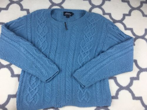 ICELANDIC DESIGN blue Silk Angora Cable Knit Zip Sweater Cardigan size S Small