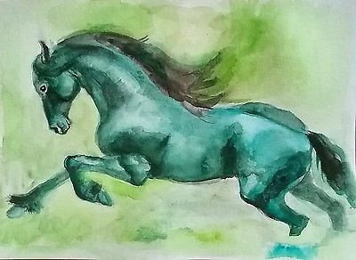 Original watercolor painting on paper,Green forest horse,equine,equestrian,anima
