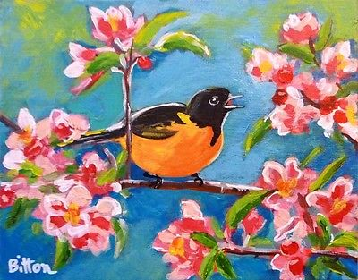 ORIGINAL IMPRESSIONIST PAINTING 8X10, ORIOLE IN CHERRY TREE, by Artist R. Bitton