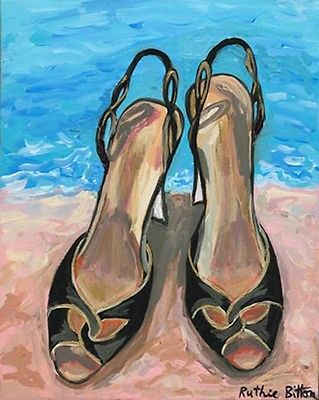 ORIGINAL TRENDY FASHION ART 8x10, STILETTO SHOES ON THE BEACH, Artist R. BITTON